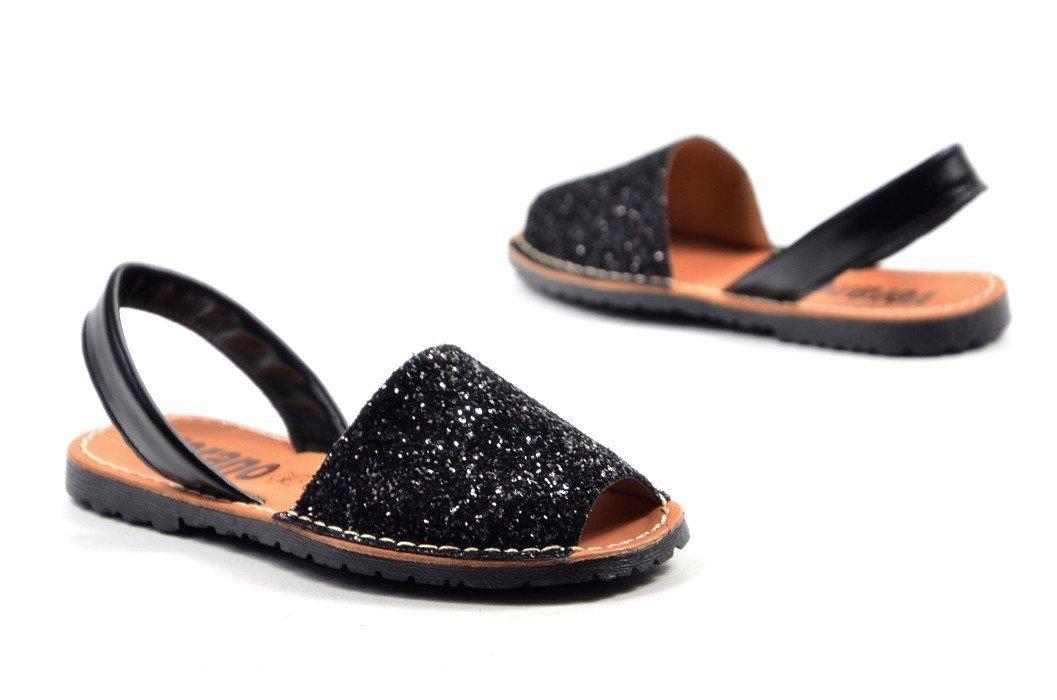4ba31140 Sandały 36 skórzane VERANO 275 brokatowe czarne klapki