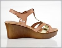 Sandały 39 EVA FRUTOS 5707 koturn beż złoto brąz