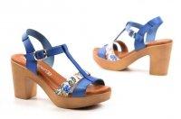 Sandały 38 słupek CARLA TORTOSA 6402 niebieskie kwiaty hiszpańskie