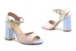 Sandałki 35 słupek OLEKSY 2692 skóra różowe niebieskie perłowe