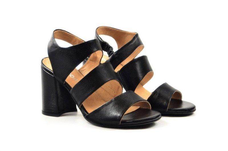 Sandałki 38 słupek ROBSON skóra 2258 czarne