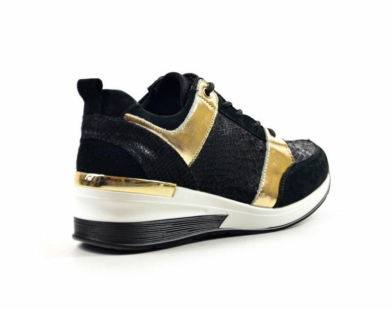 Półbuty 41 sneakersy FILIPPO 3170 skóra czarne złote