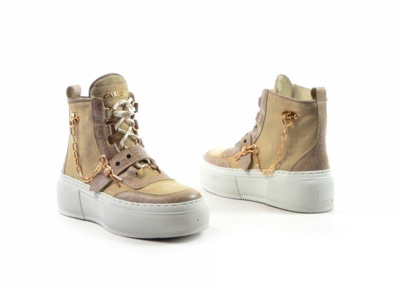 Półbuty 36 sneakersy Carinii B7051 skóra beżowe botki