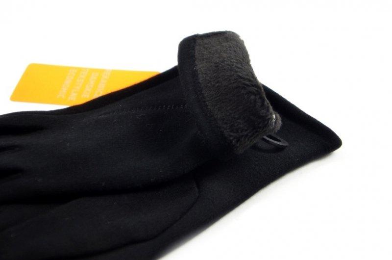 Rękawiczki damskie XL bawełna ciepłe czarne puszek