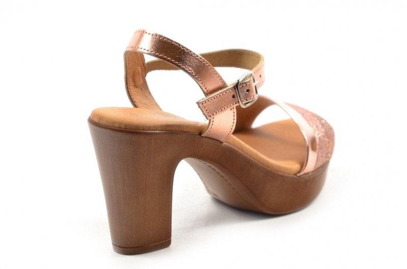 Sandały 37 EVA FRUTOS 5896 różowe metaliczne hiszpańskie