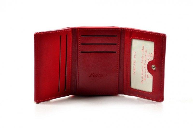 Portfel damski ALESSANDRO PAOLI eko-skóra czerwony lakier funkcjonalny