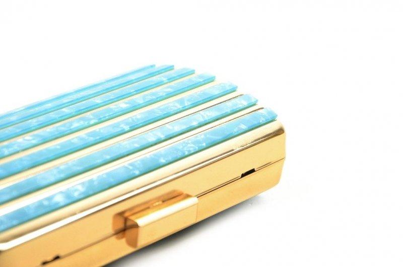 TOREBKA kopertówka wizytowa TOM&EVA niebieska złota