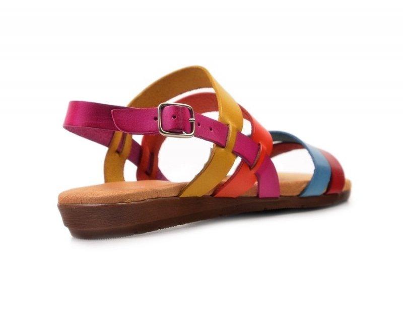 Sandały 36 EVA FRUTOS 7130 kolorowe fuksja czerwone