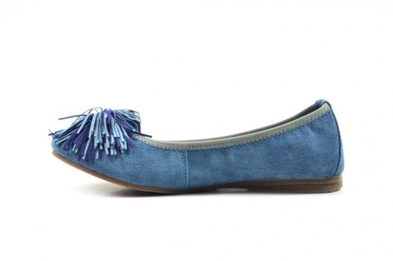 Półbuty 41 baleriny FILIPPO 1206 skóra niebieskie frędzle