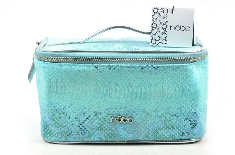 Kosmetyczka damska kuferek NOBO F03 niebieska jasna turkusowa wąż