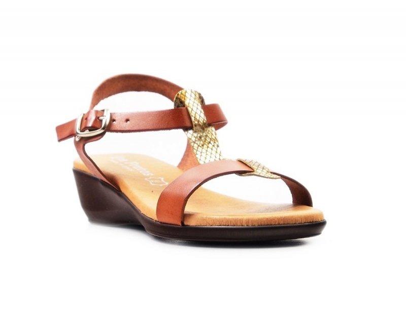 Sandałki 40 EVA FRUTOS 5349 brąz złoto beż wąż
