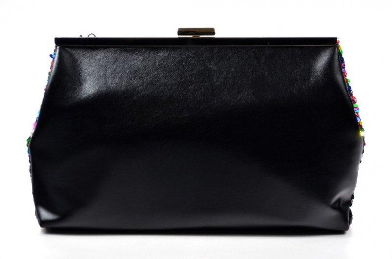 TOREBKA wizytowa kopertówka czarna kolorowa BESTINI cekiny