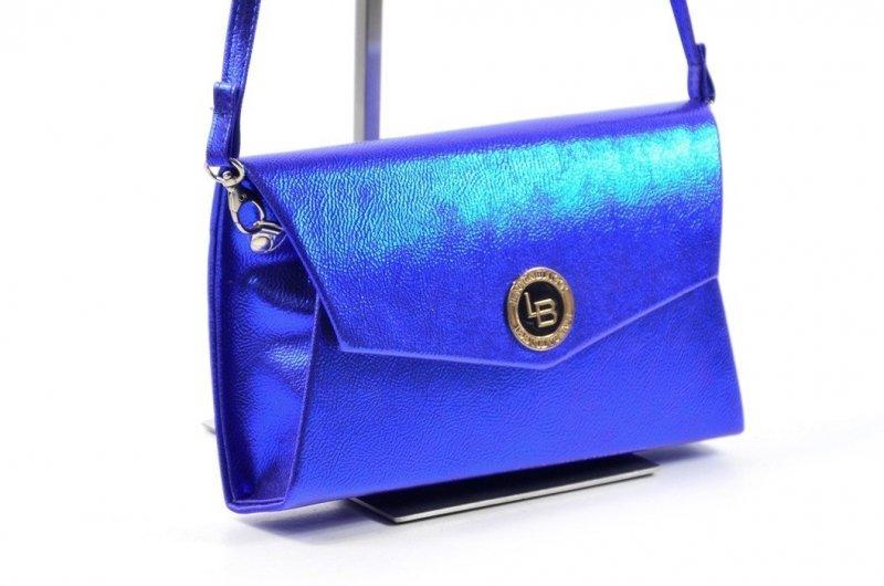 TOREBKA kopertówka LAURA BIAGGI wizytowa niebieska metaliczna