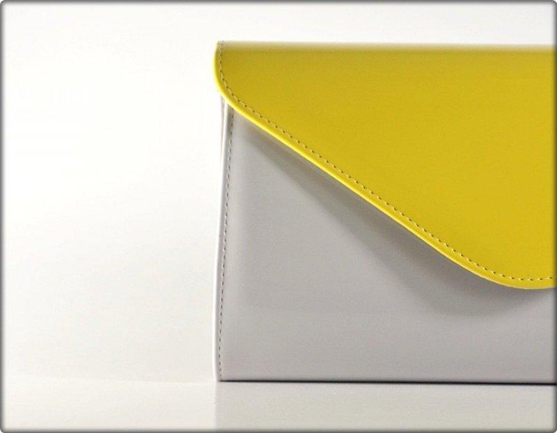 TOREBKA kopertówka wizytowa szara limonka