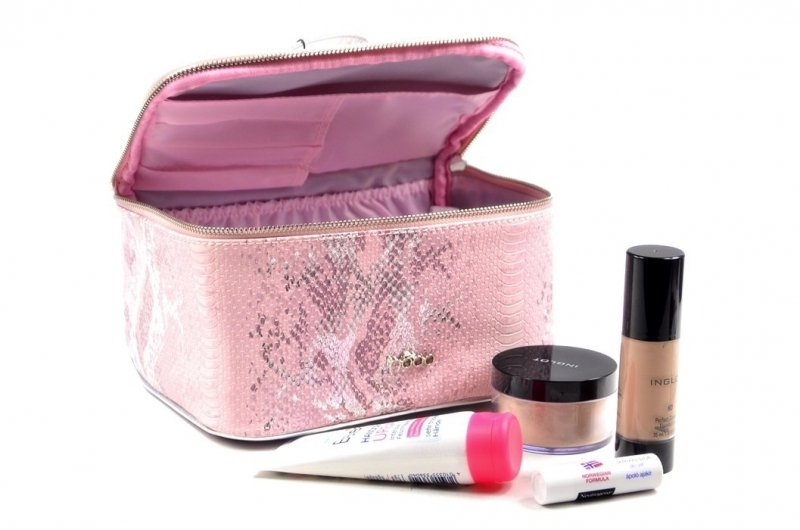 Kosmetyczka damska kuferek NOBO E03 różowa srebrna wąż