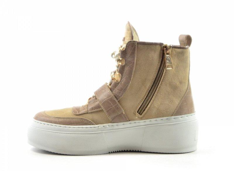Półbuty 38 sneakersy Carinii B7051 skóra beżowe botki