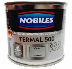 Nobiles Termal 500 SREBRNY 0,2L termoodporna farba silikonowa PÓŁMAT