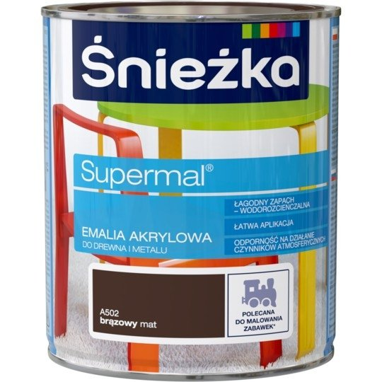 Śnieżka Emalia Akrylowa 0,8L BRĄZOWY A502 MAT Farba Supermal