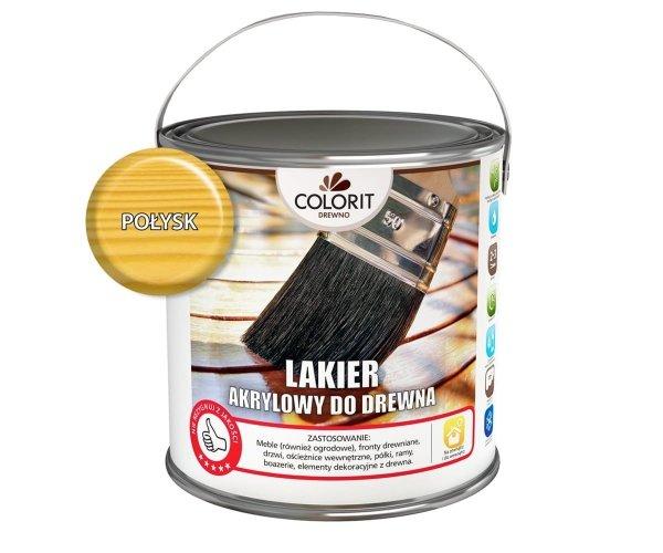 Colorit Lakier Akrylowy Drewna 5L POŁYSK BEZBARWNY z filtrami UV do wewnątrz i na zewnątrz nieżółknący