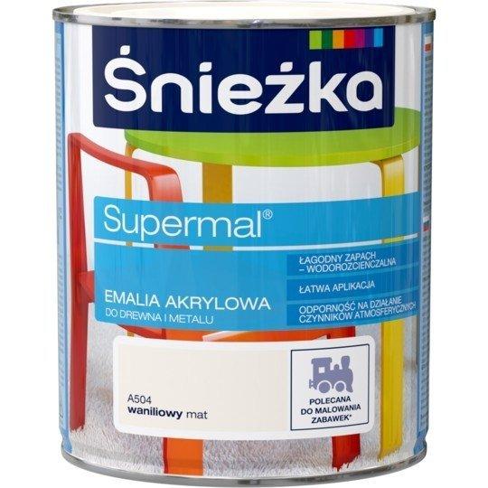 Śnieżka Emalia Akrylowa 0,8L WANILIOWY A504 MAT Farba Supermal