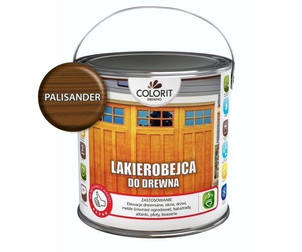 Colorit Lakierobejca Drewna 5L PALISANDER szybkoschnąca satynowa farba do