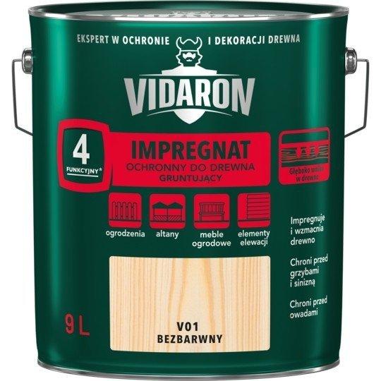 Vidaron Impregnat 9L V01 Bezbarwny Gruntujący Podkład Grunt do drewna