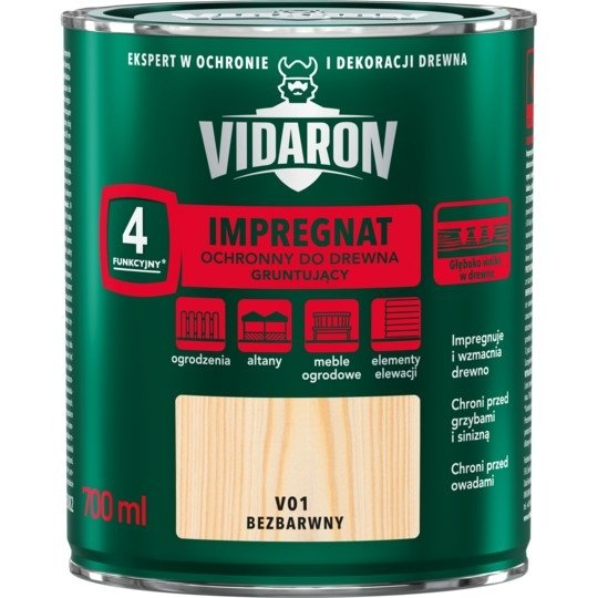 Vidaron Impregnat 0,7L V01 Bezbarwny Gruntujący Podkład Grunt