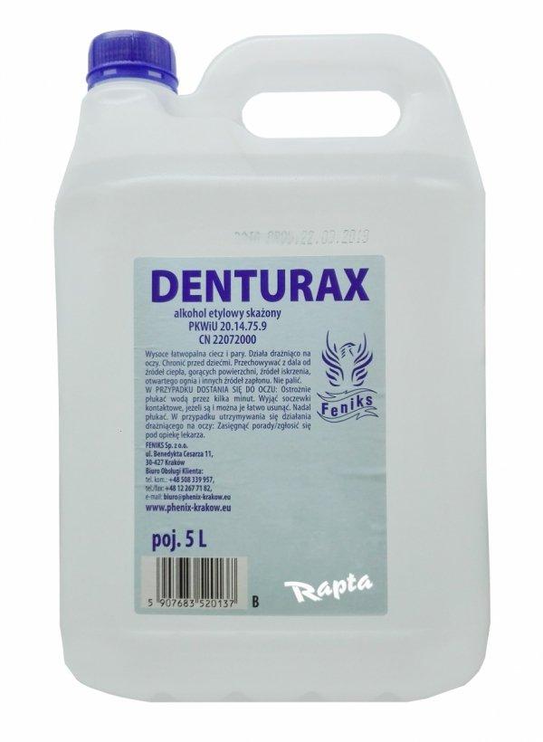 Denturax 5L denaturat BEZBARWNY mocny etylowy 90% etanol FENIKS