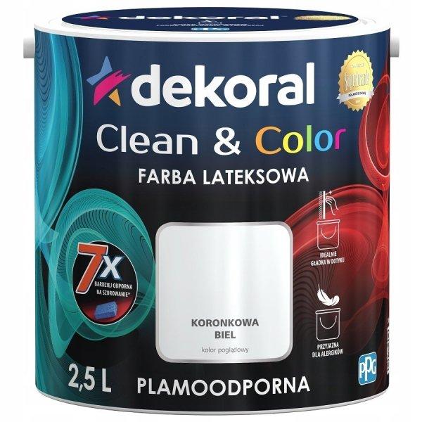 Dekoral CLEAN COLOR 2,5L Koronkowa Biel satynowa farba lateksowa