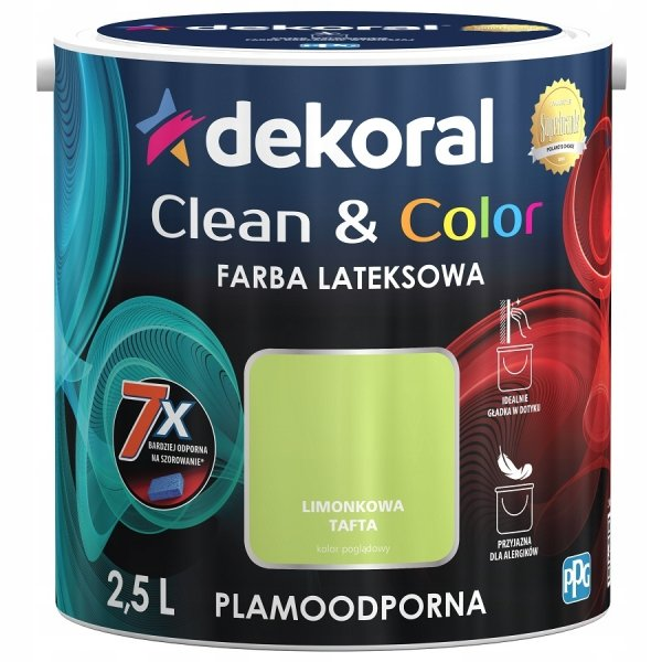 Dekoral CLEAN COLOR 2,5L Limonkowa Tafta satynowa farba lateksowa
