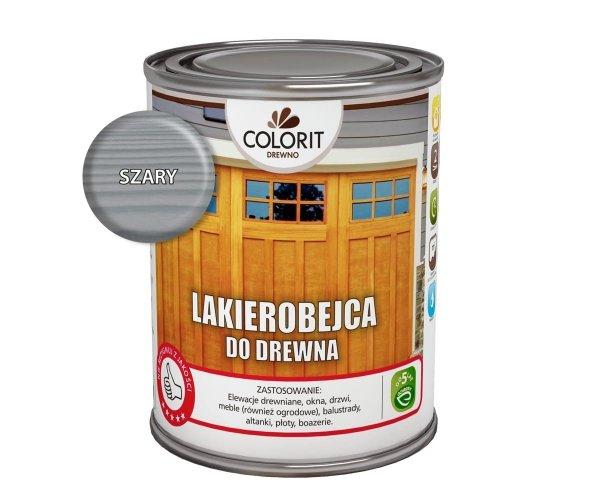 Colorit Lakierobejca Drewna 0,75L SZARY szybkoschnąca satynowa farba do