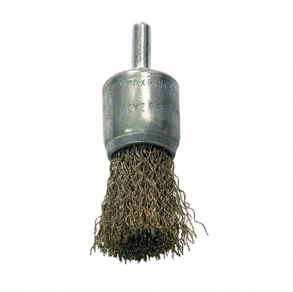 Szczotka druciana pędzelkowa śr. 17mm drut falowany mosiądzowany trzpień 32861 PROLINE