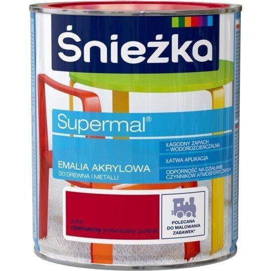 Śnieżka Emalia Akrylowa 0,8L CZERWONY A415 POŁYSK JEDWABISTY Farba Supermal