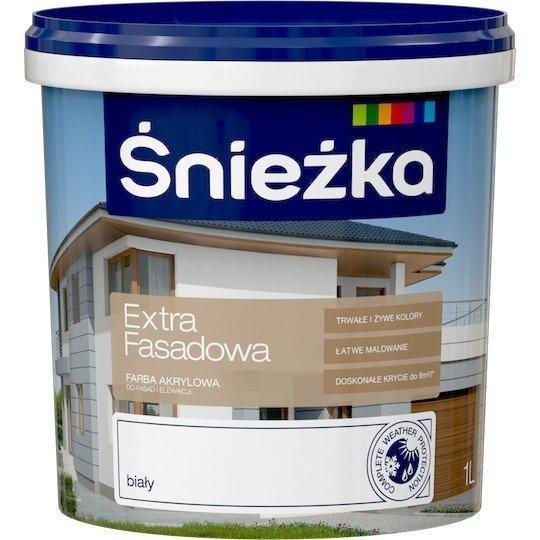 Śnieżka Fasadowa 1L Biała farba elewacyjna Akrylowa Emulsyjna do fasad i elewacji Extra