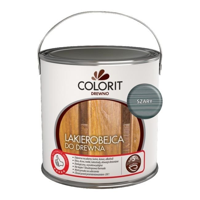 Colorit Lakierobejca Drewna 5L SZARY szybkoschnąca satynowa farba do