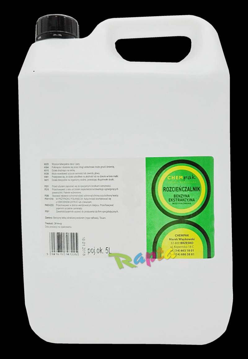 Benzyna ekstrakcyjna rozpuszczalnik 5L rozcieńczalnik ekstrakcyjny niskoaromatyczny Chempak