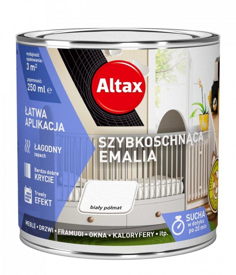 Altax Emalia Szybkoschnąca Biały PÓŁMAT 0,25L akrylowa wodna do drewna metalu