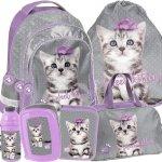 Plecak Fioletowy dla Dziewczynki Szkolny Zestaw z Kotkiem [PTC-181]