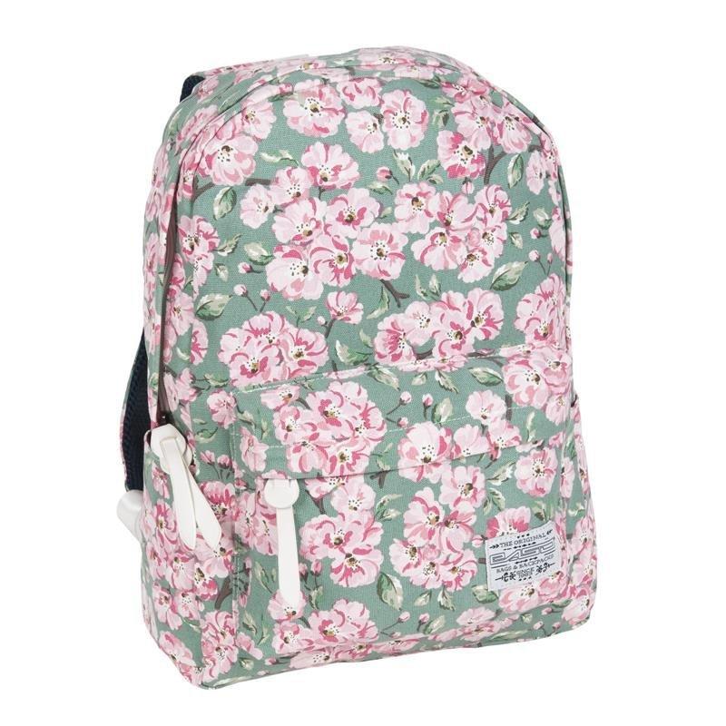 b33f3fad91e74 Plecak Vintage dla Dziewczyny Młodzieżowy Szkolny Kwiaty na Zielonym Tle  17-223E