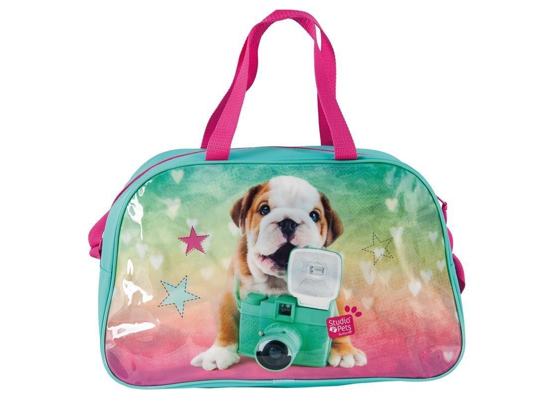 8ecc4b3f347ae torba z pieskiem dla dziewczynek sportowa na podróż basen z paskiem na ramię
