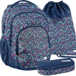 Plecak Młodzieżowy Kwiateczki Szkolny Zestaw [18-2706KW]