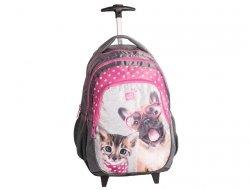 Plecak na Kółkach Pies Kotek Szkolny dla Dziewczyny