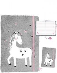 Jednorożec Pamiętnik Pluszowy Unicorns Szary Różowy [PP19UN-3673]