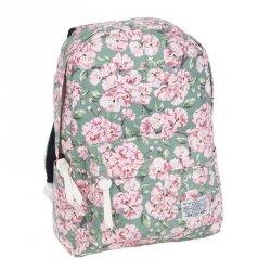 Plecak Vintage dla Dziewczyny Młodzieżowy Szkolny Kwiaty na Zielonym Tle