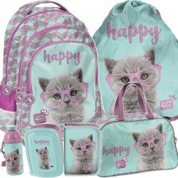 Plecak dla Dziewczyny z Kotkiem w Zestawie Szkolny Kotki [PTF-181]