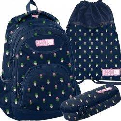 Modny Plecak Młodzieżowy Komplet w Kaktusy [PPMN19-2708]