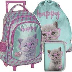 Plecak na Kółkach z Kotkiem dla Dziewczyn Szkolny Zestaw [PTF-1221]
