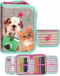 Piórnik Kot i Pies Szkolny dla Dziewczyny Paso Nowoczesny [PEB-001]