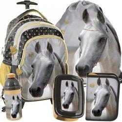 Plecak na Kołach Szkolny dla Dziewczynki w Konie Komplet [PP19H-997]