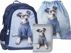 Plecak z Pieskiem w Okularach Szkolny Zestaw dla Dziewczyny [RHO-081-001-712]